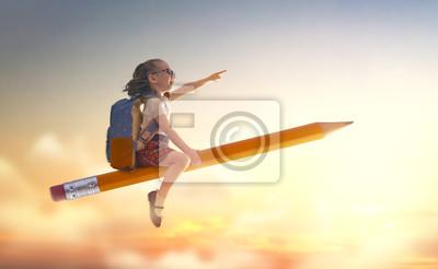 Naklejka child flying on a pencil