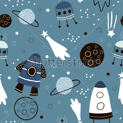 Naklejka Childish seamless pattern with hand drawn space elements space, rocket, star, planet, space probe. Trendy kids vector background.