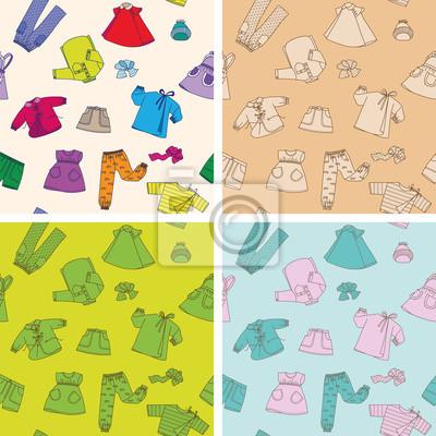 Children clothes 4 seamless textures