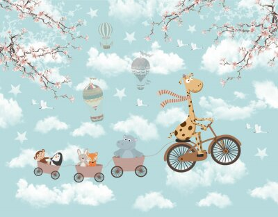 Naklejka children's picture for wallpaper animals in the clouds