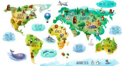 Naklejka children's world map isolated on white