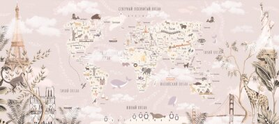 Naklejka Children's world map with animals and attractions in Russian. Photo wallpapers for the children's room.