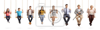 Naklejka Children, young people and seniors sitting om swings and smiling