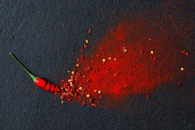 Naklejka Chili, papryka chili w proszku i płatków