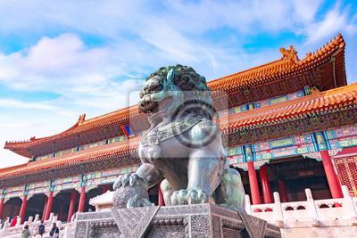 Naklejka Chinese guardian Lion in Forbidden City, Beijing, China