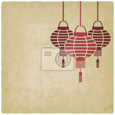 Naklejka Chiński lampion stare tło
