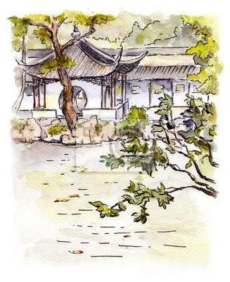Chiński ogród z pagoda w Suzhou, Chiny. Akwarela
