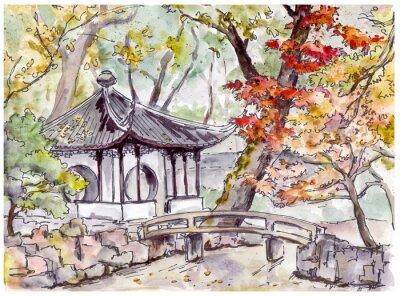 Chiński ogród z pawilonem mostów i pagoda w Suzhou, Chiny