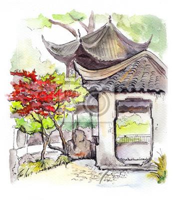 Chiński pagoda świątyni i czerwone drzewo w Chinach