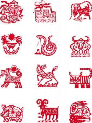 Naklejka Chiński starożytny symbol lata zwierzę zodiaku