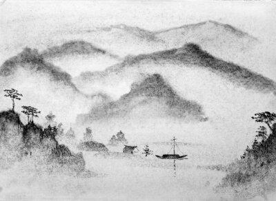 Naklejka Chińskie góry malarskie i wody