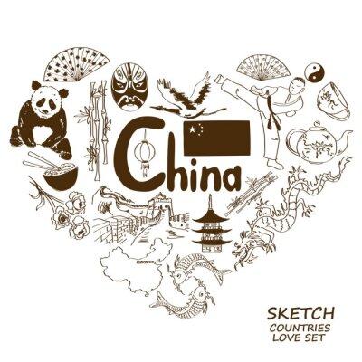 Naklejka Chińskie symbole w kształcie serca koncepcji.