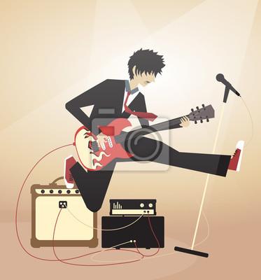 Naklejka Chłopak gra na gitarze elektrycznej i skoki