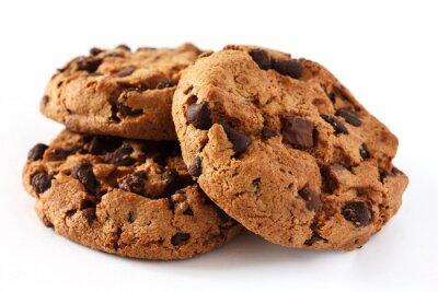 Naklejka Chocolate chip cookie na białym tle