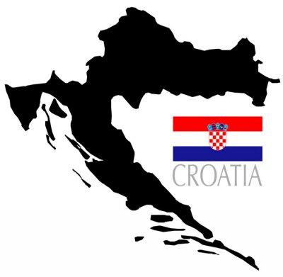 Naklejka Chorwacja Mapa Kontur I Ksztalt Na Wymiar Flaga