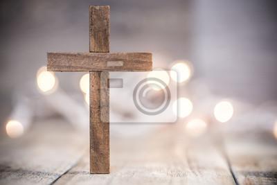 Naklejka Christian Cross na miękkim tle Bokeh