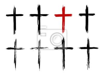Naklejka Christian cross of Jesus Christ, hand drawn, Cross symbol of crucifixion and faith. Brush stroke texture. Grunge christian cross. Vector set