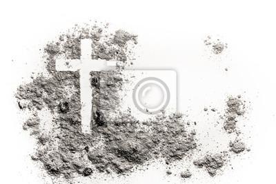 Naklejka Christian krzyż lub krucyfiks w popiołu, kurzu lub piasku