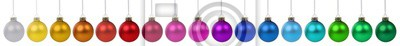 Naklejka Christmas balls baubles banner color colorful decoration in a row isolated on white