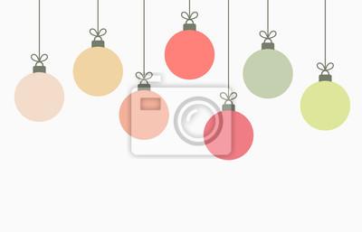 Naklejka Christmas balls hanging ornaments background.