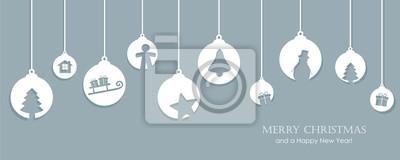 Naklejka christmas card with tree balls decoration vector illustration EPS10