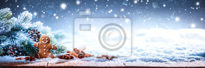 Naklejka Christmas Cookie With Festive Decoration
