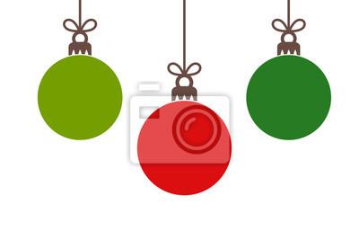 Naklejka Christmas red and green balls hanging ornaments.