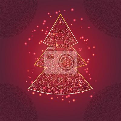 Naklejka Christmas tree with ornament and sparkle