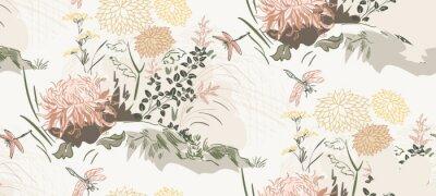 Naklejka chrysanthemum flowers nature landscape view vector sketch illustration japanese chinese oriental line art ink seamless pattern