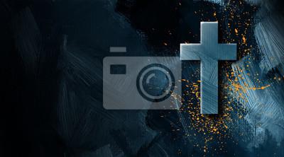 Naklejka Chrześcijanina krzyż z złotą farbą bryzga graficznego tło