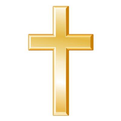 Naklejka Chrześcijaństwo Symbol, złoty krzyż, krzyż, wiara chrześcijańska ikona