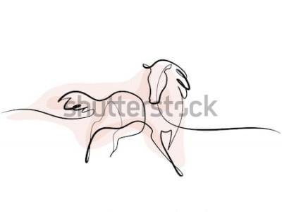 Naklejka Ciągłe rysowanie jednej linii. Logo konia Czarno-biały ilustracja wektorowa Koncepcja logo, karty, baner, plakat, ulotka