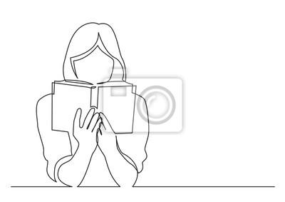 Naklejka ciągłe rysowanie linii kobiety skupionej na czytaniu ciekawej książki