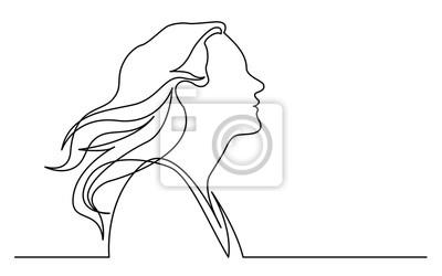 Naklejka ciągłe rysowanie linii na białym tle profil portret szczęśliwa kobieta cieszyć się życiem