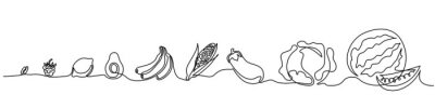 Naklejka Ciągły jeden rysunek liniowy. Ilustracji wektorowych