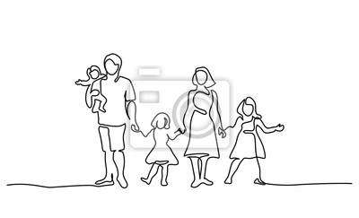 Naklejka Ciągły jeden rysunek liniowy. Szczęśliwy ojciec rodziny i matka z trójką dzieci. Ilustracji wektorowych.