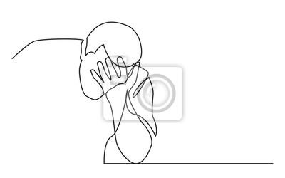 Naklejka ciągły rysunek linii człowieka w rozpaczy