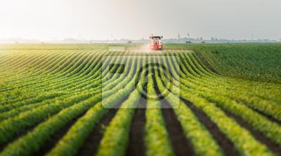 Naklejka Ciągnik oprysku pestycydów na polu soi
