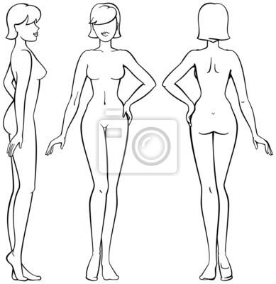 a9542946e6abb7 Naklejka ciało kobiety - widok z przodu, z tyłu iz boku w zarysie na ...