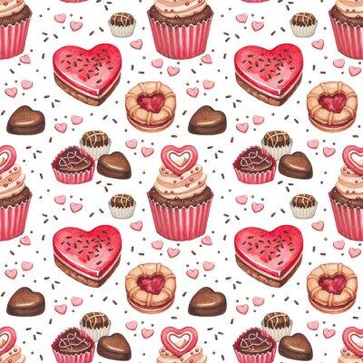 Naklejka Ciasteczka, ciasta i słodycze czekoladowe na Walentynki