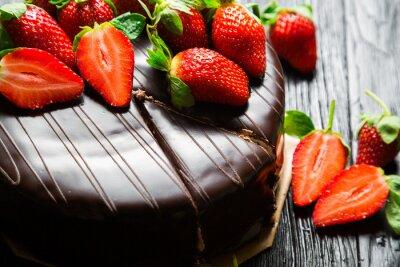 Naklejka Ciasto czekoladowe z truskawek