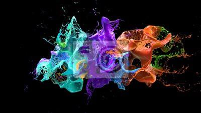 Naklejka Ciecz eksplozji na czarnym 3d ilustracji