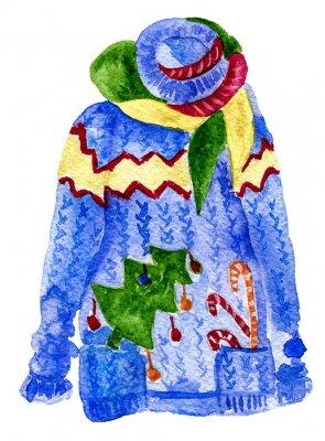 Naklejka Ciepłe niebieskie brzydki sweter z trzciny cukrowej, choinki i szalik. Zima Akwarele ilustracji. Pojedynczo na białym tle.