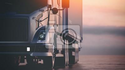 Naklejka Ciężarówka jedzie po autostradzie. Renderowania 3D i ilustracji.