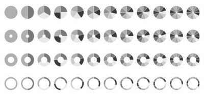 Naklejka Circle pie charts. Round diagram. 2,3,4,5,6,7,8,9,10,11,12 sections or steps.