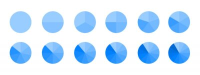 Naklejka Circles divided in monochrome blue segments from 1 to 12 isolated on white background. Pie chart for statistics infographic examples. Round shapes cut in equal slices. Vector flat illustration.