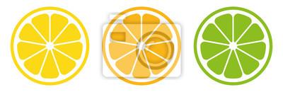 Naklejka Citrus slice set. Lemon slice. Orange slice. Lime slice. Vector illustration
