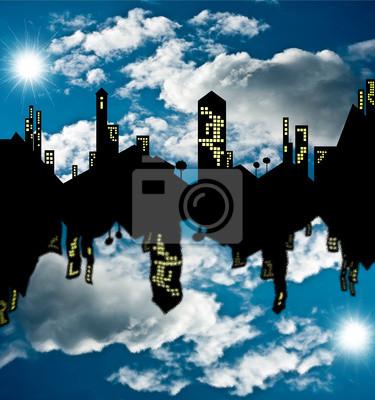Naklejka Città riflessa allo specchio