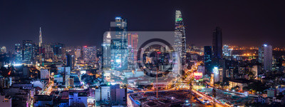 Naklejka Cityscape of Ho Chi Minh City, Vietnam at night