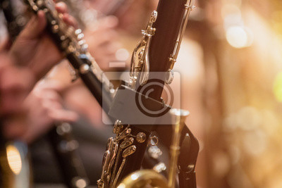 Naklejka clarinet during a classical concert music, close-up.